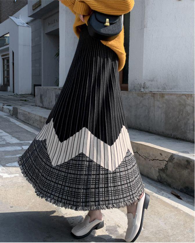2021新作 レディース パンツ スカート ロング フレア ハイウェスト ニット セーター 韓国風