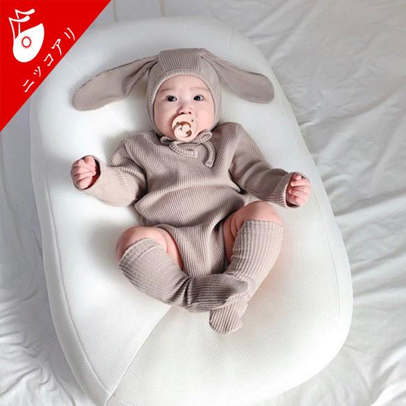 赤ちゃんカバーオール 2021秋冬新作 長袖トップス 男児 女児 ウサギ耳の帽子 帽子付き 部屋着 動物