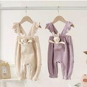 秋 ベビーロンパース 韓国風 キッズ  ポケット兔子 新作 子供服 ベビー服 オールインワン