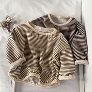 韓国風子供服 韓国ファッション 可愛い  ストライプ長袖シャツ ユニセックス