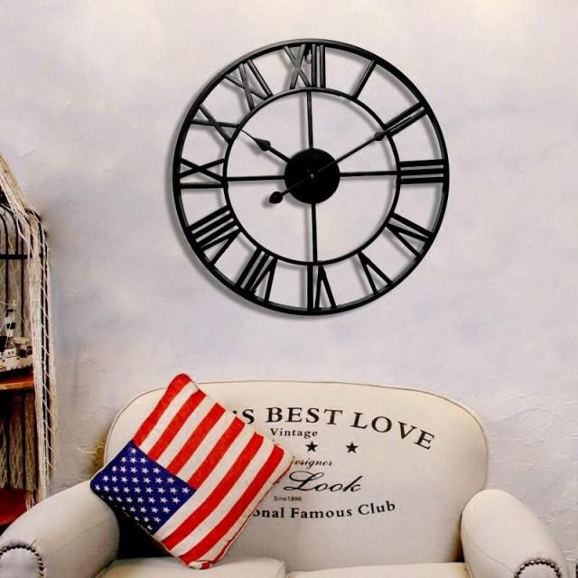 掛け時計 大きなアイアンフレーム 送料無料 アンティーク 雑貨 壁掛け時計 アイアン雑貨 男前インテリア