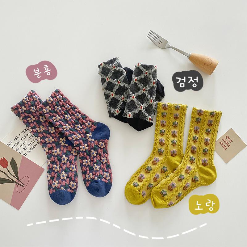 韓国子供服  秋服 靴下ソックス可愛い薔薇レトロ