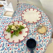 レトロ 透かし彫り ディッシュプレート 朝食プレート サラダプレート 牧歌的なスタイル
