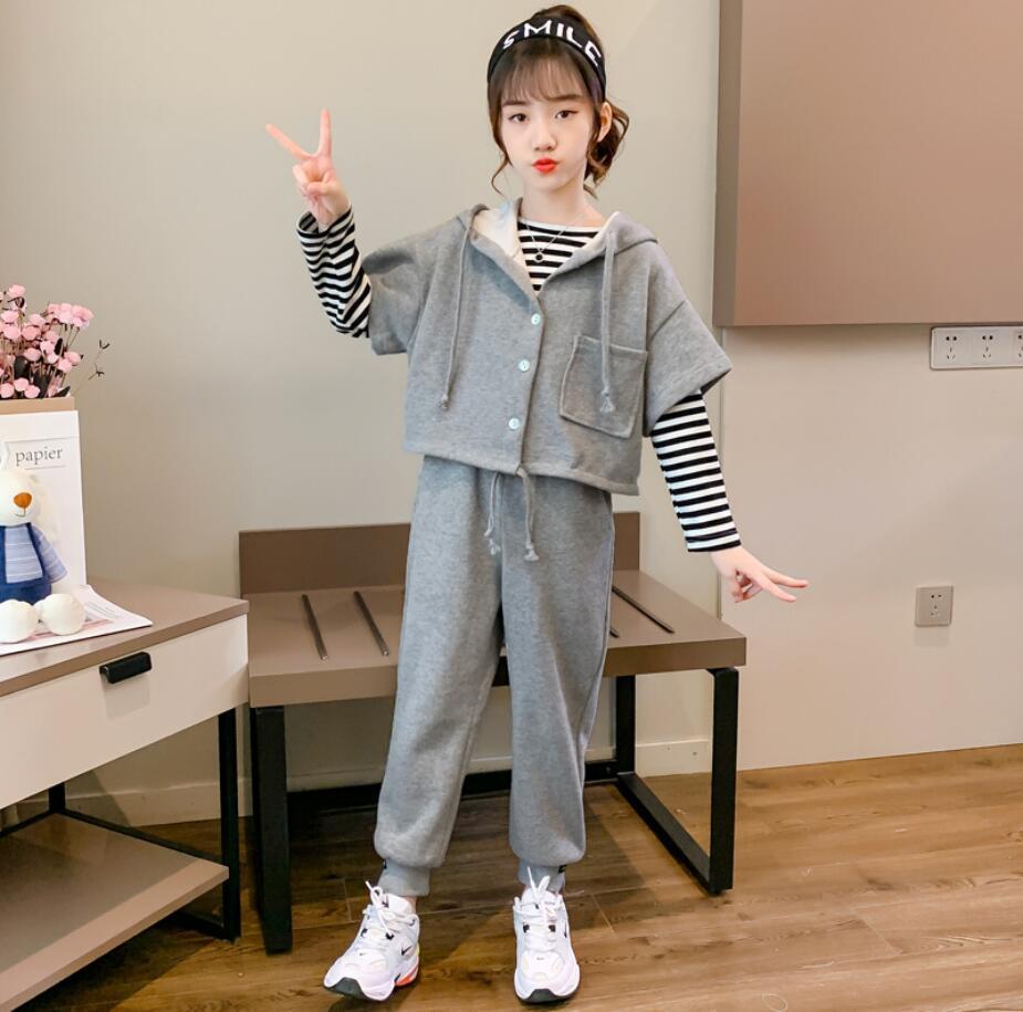 初秋新作 子供服セット シャツ+ズボン+コート 可愛い 子供服 キッズ服  3点セット
