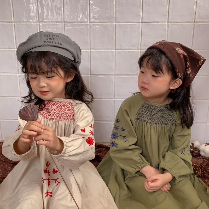 韓国風子供服 韓国ファッション 可愛い Aラインスカート 海外風スカート 刺繍ドレス