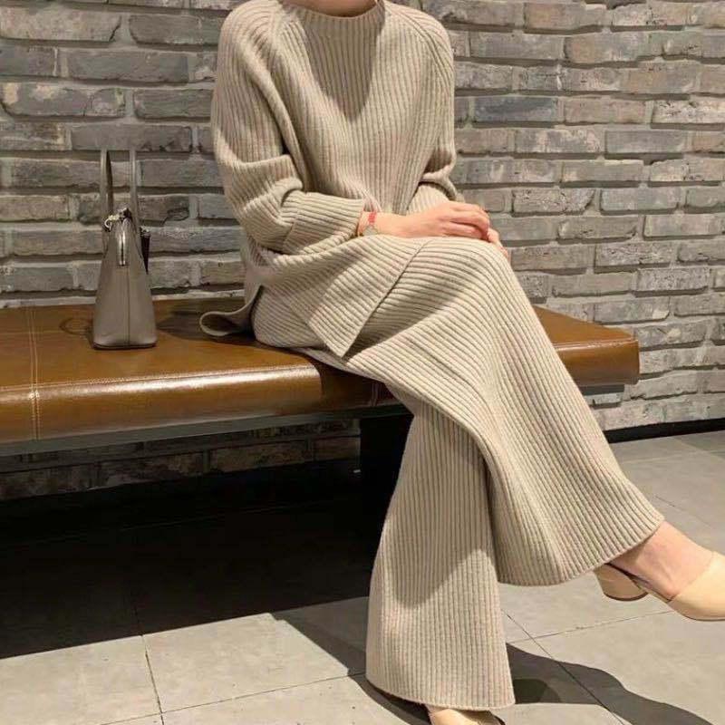 【Women】2021年秋冬新作 韓国風レディース服 ニットセーター パンツセット セットアップ
