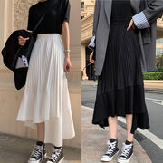 秋と冬新作 韓国風レディース服 スカート ロングスカート 非対称 白黒2色