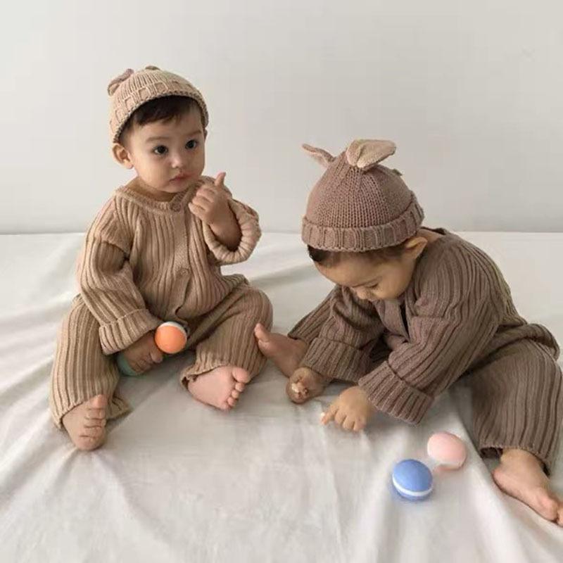 【KID】韓国風子供服 ベビー服  男女兼用 ニット長袖 ロンパース 全3色