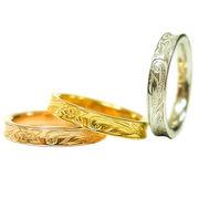 数量限定 ハワイアンジュエリー リング 指輪 細め プルメリア スクロール ふち反りデザイン インスタ
