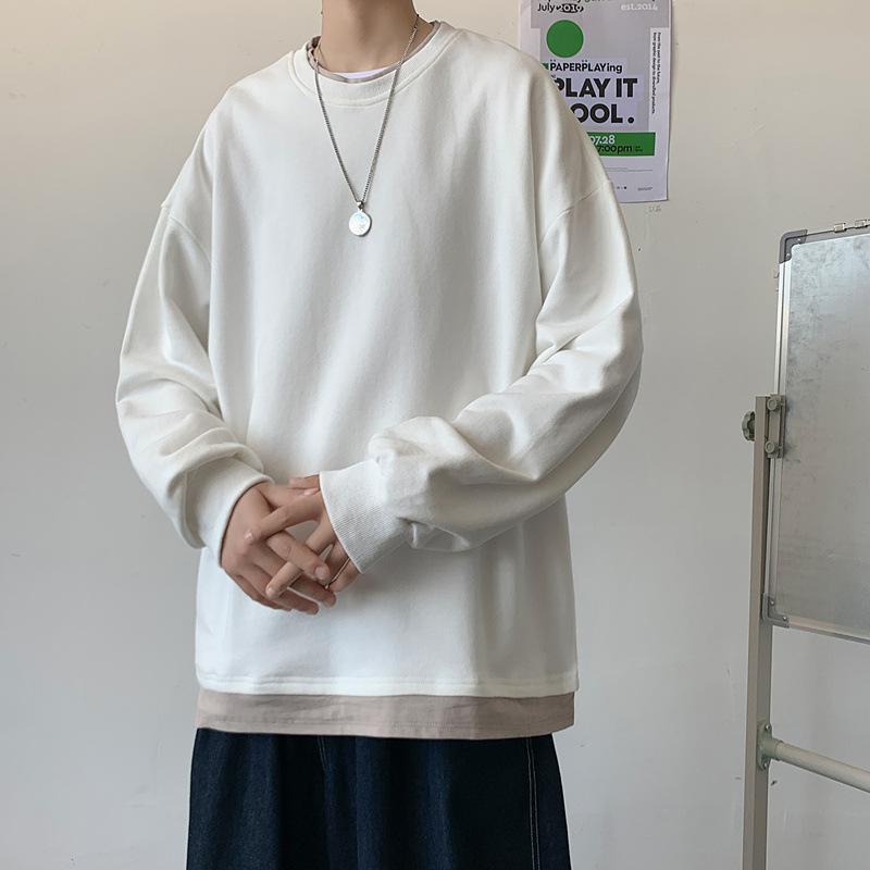 パーカー メンズセーター 偽の2点 秋冬新作 男シャツ 韓国風