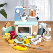 新しいプレイハウスオーブン調理キッチンセット木製子供用電子レンジオーブンおもちゃ木製シミュレーション