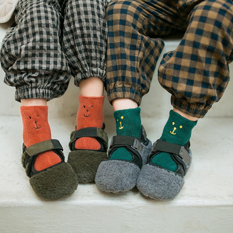 【KID】韓国風子供服 男女兼用 ソックス ins 起毛 クマ柄 靴下
