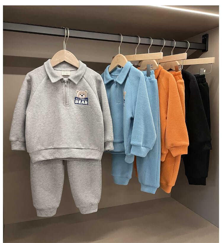 【KID】韓国風子供服 ベビー服  男の子 クマ柄 長袖 セットアップ プルオーバー