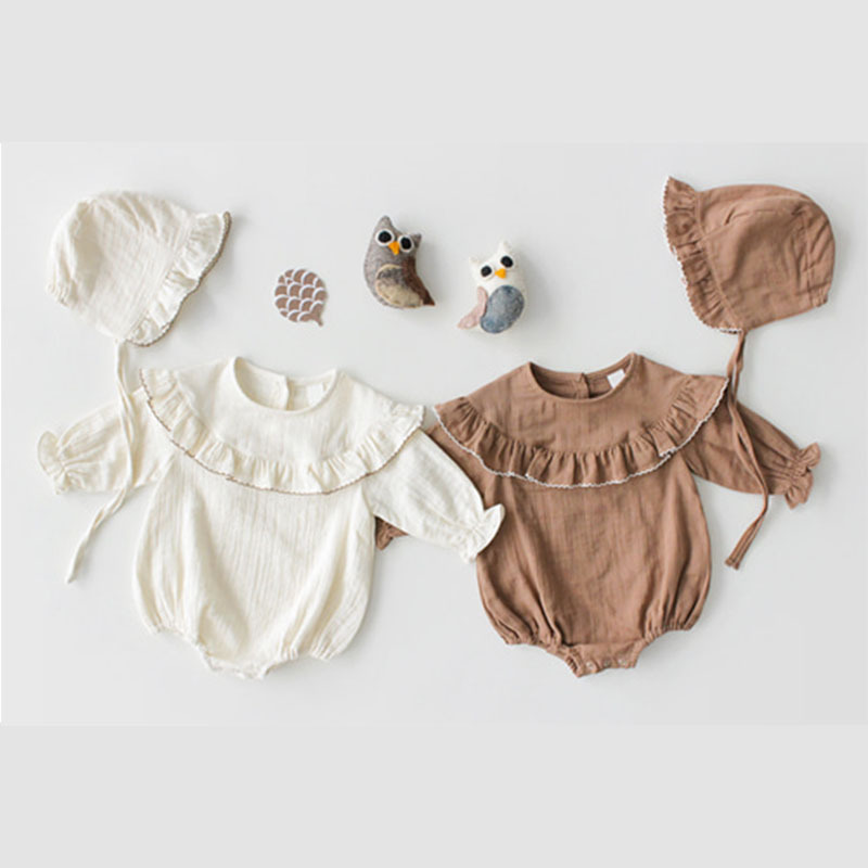 【KID】韓国風子供服 ベビー服  女の子 ロンパース 長袖 肩フリル