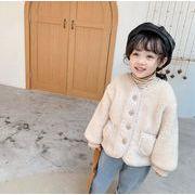 秋冬 コート 厚手 親子服 裏起毛 4色 暖かい ふわふわ 子供服 キッズ ジャケット 豹柄 チェックコート