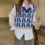 【2021INS 新作】可愛い 個性的 設計感 アーガイル飾り ゆったり 体型カバー ベスト ニットセーター