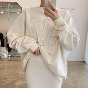 【2021INS 新作】気質 カジュアル トップス ゆったり シンプル長袖シャツ プルオーバー ファッション韓国系