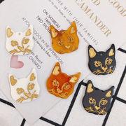 アクセサリーパーツ 猫 フェイス レジン ねこ 動物 アクリル プラスチック ハンドメイド 貼り付けパーツ