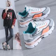 2021秋の新カジュアルスポーツシューズ婦人靴、通気性、厚い靴底が増加
