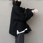 不規則デザイン セーター ハイネック ニットトップス INS大人気 レディース服 人気商品 2021年秋冬新作