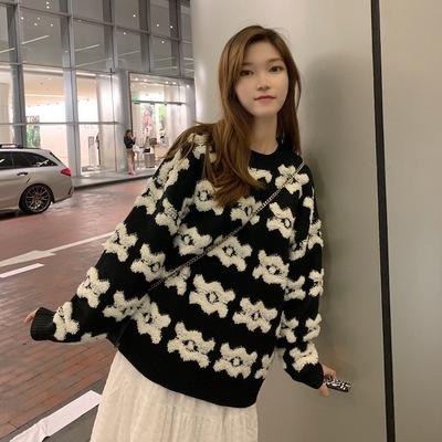 アンティーク調 日系 ヘッジ セーターの女性 秋と冬 新しいデザイン 松 怠惰な 風 韓