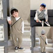韓国風子供服 韓国ファッション 可愛い セットアップ ノースリーブニット スウェット