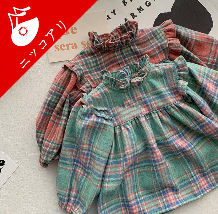 子供服 女の子 チェック柄のワンピース 襟フレア 女の子らしい服