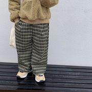 【KID】韓国風子供服 秋冬 男女兼用 おしゃれ チェック ロングパンツ パンツ