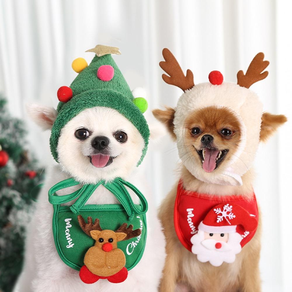 秋冬新作 犬服 ペット服 スタイ 涎掛け よだれかけ 帽子 コスプレ クリスマス