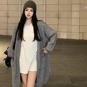 フランス語 優しい 風 中長スタイル ソリッドカラーのセーター カーディガン 女 秋 新