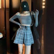 アンティーク調 ハイウエスト 包帯 チェック柄 スカートの女性 秋 新しいデザイン 個