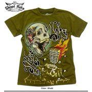 ★グランジロック炸裂!★ハードウォッシュムラ染め金箔スカルマイクプリントスタッズTシャツ