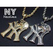クリスタルストーン入りNYネックレス・HipHop・B系・ニューヨーク
