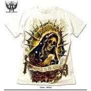 ★グランジROCK!★ハードウォッシュムラ染め金箔スカルマリアプリントラインストーンTシャツ