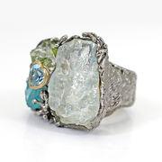 天然石 高級宝石質原石リングオリジナル世界一点物【FOREST 天然石 パワーストーン】