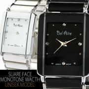 【ブレスレット感覚♪】★ユニセックス・モノトーンスクエア&ストーン腕時計【保証書付】