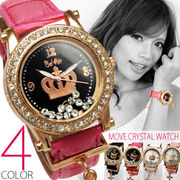 【クラウンフェイス仕様】★クロスチャーム付きムーブクリスタル腕時計【保証書付】