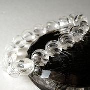 <スクリュー>彫刻水晶(12mm)ブレスレット