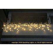 LEDイルミネーション、アイシクル(ツララ)、常点、プロ仕様(V4)、140球、電球色(イエローゴールド)