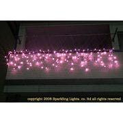 LEDイルミネーション、アイシクル(ツララ)、常点、プロ仕様(V4)、140球、ピンク