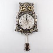 ふくろう掛け時計-gold