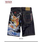 ★これだけ豪華な刺繍は見たことが無い!★「SUGOI」の和柄刺繍デニムハーフパンツ!(*鯉*)★