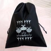 バレエ【巾着】ブラックLサイズ/トーシューズバッグ.バレエシューズ袋チュチュバレリーナ衣装柄小袋