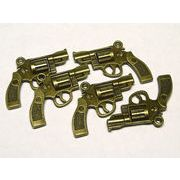 チャーム ピストル 約30×22mm 真鍮古美 【5個セット】