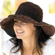 UVカット帽子 - レディース ハット- ファブリック スクランチ ハット ブラウン