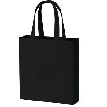 横マチ付厚手コットンバッグ(L)  ブラック / トートバッグ 無地 エコロジーバッグ