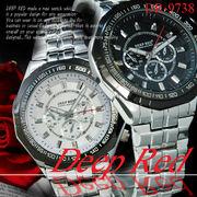 ケースあり&なしOK◇メタルバンド デザイン クロノグラフ ウォッチ メンズ 男性用 腕時計◇DR-9738