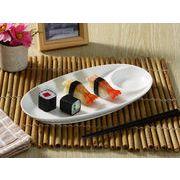 【強化】 寿司皿(醤油皿 付き11号楕円型)  おうちカフェ/盛皿/仕切り皿//白食器