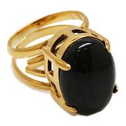 《大きめストーン:フリーサイズ ファッションリング指輪/ファランジリング》 オニキス(Black Onyx)