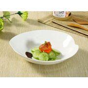 【強化】 深皿(桃形8.5号)  カレー皿/おうちカフェ/白食器